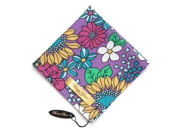 "Floral Purple floral Pocket Square 12"" Men's Cotton Pocket Square Handkerchief Hanky Hankie Suit Tie Ties Necktie"