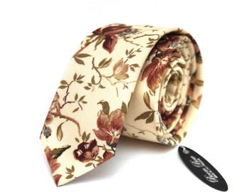Mens Tie Floral Wedding necktie Men's necktie Groomsmen Wedding tie TC066