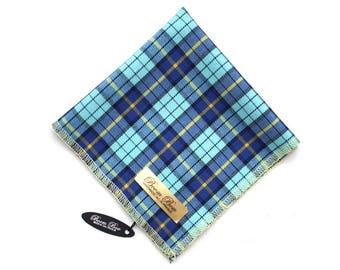 "Pocket Square 12"" Men's Blue plaid Wool Pocket Square Handkerchief Hanky Hankie Squares Suit Tie Gift for him PS093"