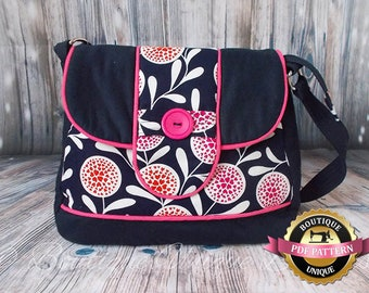 Poppy Bag  Useful shoulder bag with feature piping PDF Sewing Pattern