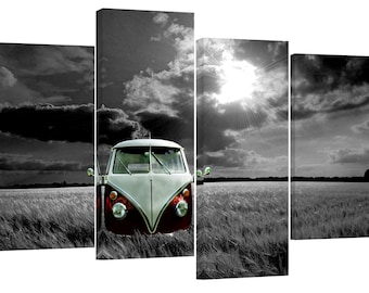 "Vw Camper Van in the field black and white 30""x20"""