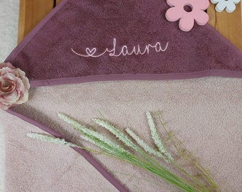 Hooded towel with name, mauve, personalized, color choice, heart font