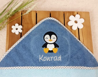 Hooded towel with name mint/ petrol Small penguin ,personalized