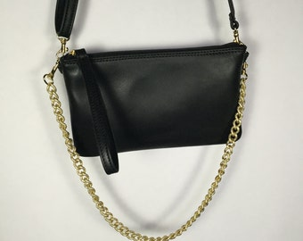 Leather clutch bag gold chain