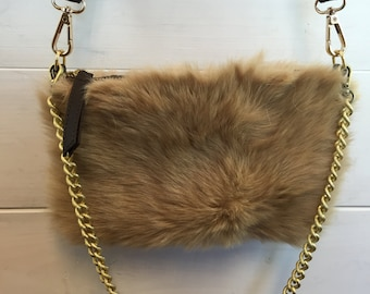 Real fur bag with golden chain