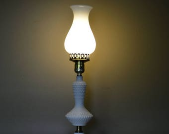 Charming Vintage White Hobnail Lamp | White Glass Lamp Shade | Hurricane Lamp |  Decorative Lamp |