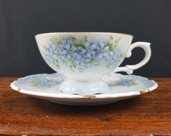 Blue White Green Floral Tea Cup Saucer Plate 8 oz Dainty Tea Cup