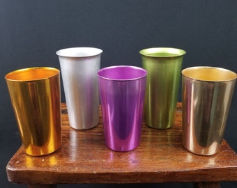 5 Vintage Colorful Aluminum Metallic Tumblers Cups Bascal AC A.C. Heller Ware Italy