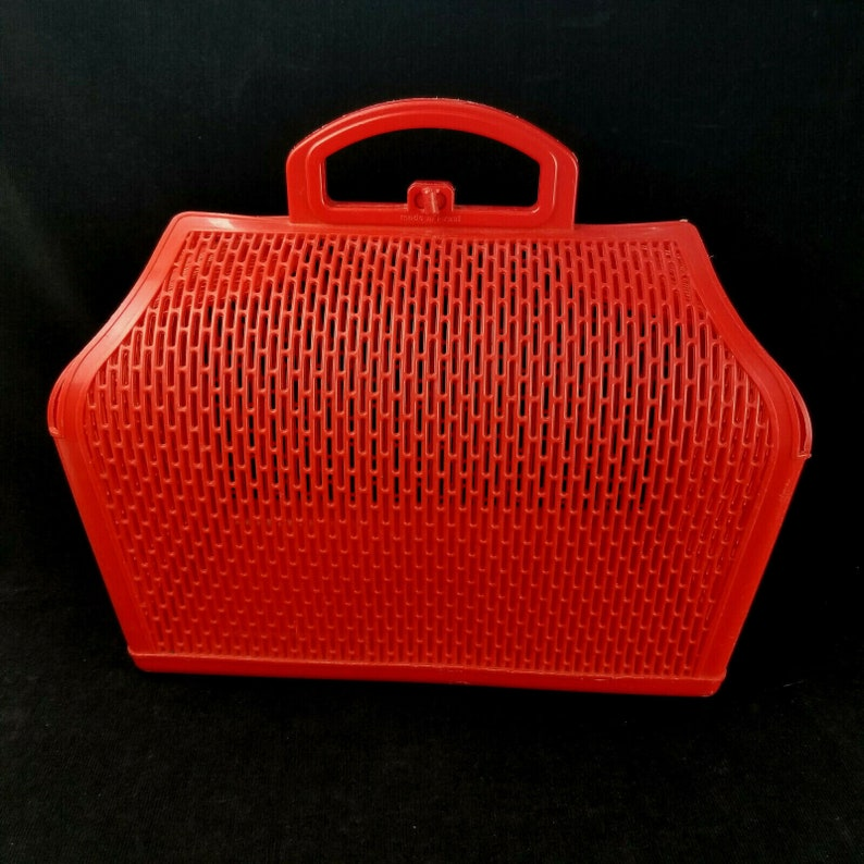 Vintage 1970s Red Tote Plastic Mesh Beach Sewing Storage Tote image 0