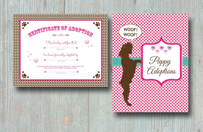 Includes Two Files Puppy Adoption Certificate and Puppy Adoption Sign PRINTABLE Instant Download Puppy Love Party