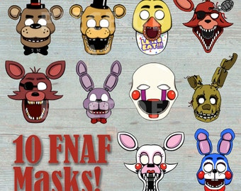 Five Night's At Freddy's 10 Masks Prop Set & 4 BONUS Props / Photo Booth Printable - Photo Booth, Costume or Party Favor