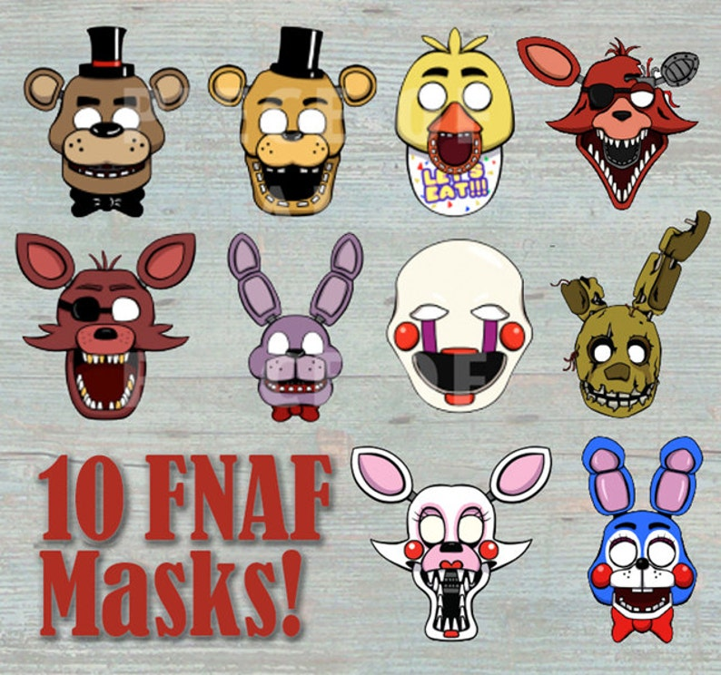 picture relating to Five Nights at Freddy's Printable Mask known as 5 Evenings At Freddys 10 Masks Prop Fastened 4 Reward Props / Photograph Booth Printable - Photograph Booth, Gown or Get together Want