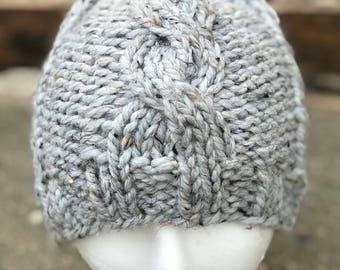 Grey Single Cable Beanie