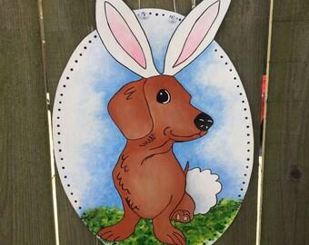 Easter Door Hanger, Easter Dachshund Door Hanger, Dachshund Door Hanger, Easter Wreath, Doxie, Rabbit Door Hanger, Easter Decorations