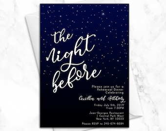 The Night Before Wedding Rehearsal Dinner Invitation | Luxury Printed Wedding Rehearsal Invitations | Elegant Modern Star Wedding Invitation