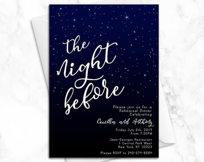 The Night Before Wedding Rehearsal Dinner Invitation   Luxury Printed Wedding Rehearsal Invitations   Elegant Modern Star Wedding Invitation
