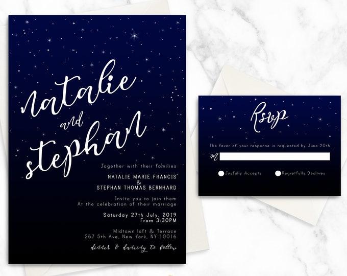 Night Sky and Stars Wedding Invitation Suite   Modern Elegant Calligraphy Wedding Invitation Set   Luxury Printed Wedding Invitation Set