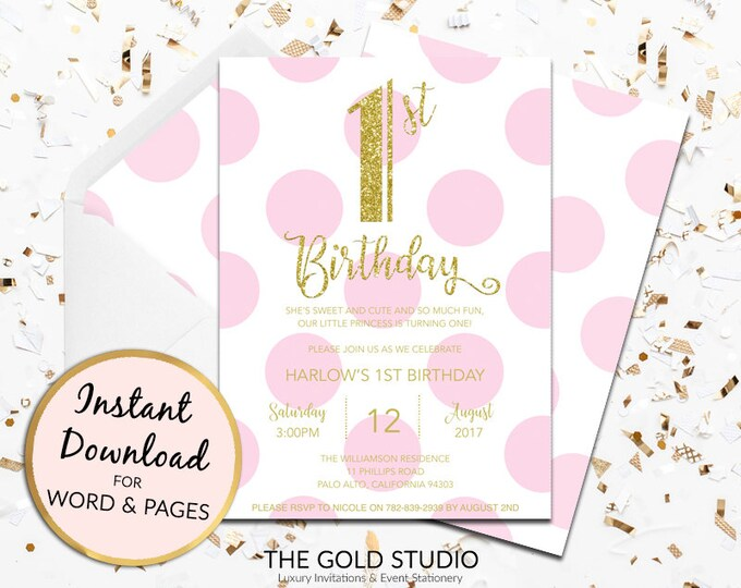 1st birthday invitation instant download girls pink gold glitter template children's party editable digital file Mac or PC Word or Pages