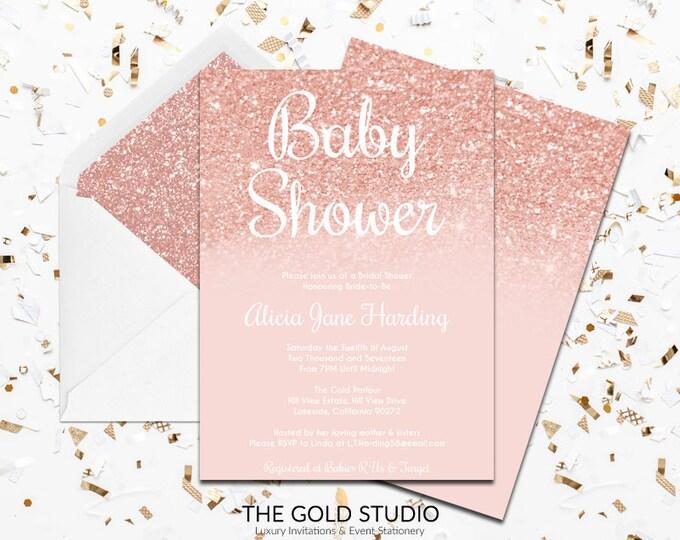 Rose Gold Glitter Baby shower invitation   Modern Blush Peach Rose Gold Invitation   Glamorous Gender Neutral Feminine Baby Shower invite