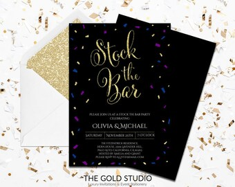 Black Confetti Stock The Bar Engagement Invitation | Blue, Purple, Gold Glitter Modern Couples Shower Invitation | Printed Couples Shower