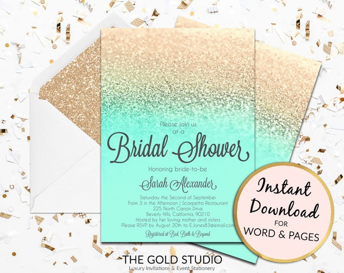 Instant Download Bridal Shower invitation mint green & gold glitter editable template elegant print at home invite Editable in Word or Pages