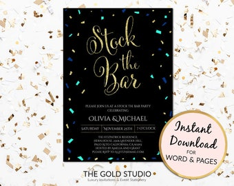Instant Download Stock the bar invitation Editable template Engagement Black blue glitter couples shower printable, PC or Mac, Word & Pages