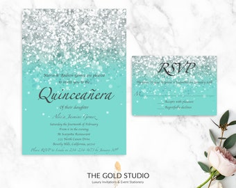 Quinceanera Invitation & RSVP Set | Luxury Turquoise Blue Glitter Invitation RSVP | Glamorous 15th Birthday Quinceanera Party Invitation