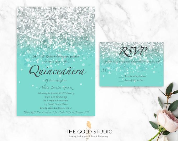 Quinceanera Invitation & RSVP Set   Luxury Turquoise Blue Glitter Invitation RSVP   Glamorous 15th Birthday Quinceanera Party Invitation
