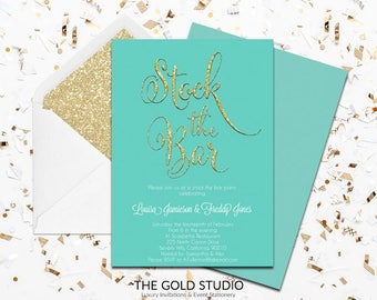 Teal Green Stock The Bar Engagement Invitation | Modern Printed Couples Shower Invitations | Glamorous Turquoise Engagement Invitations