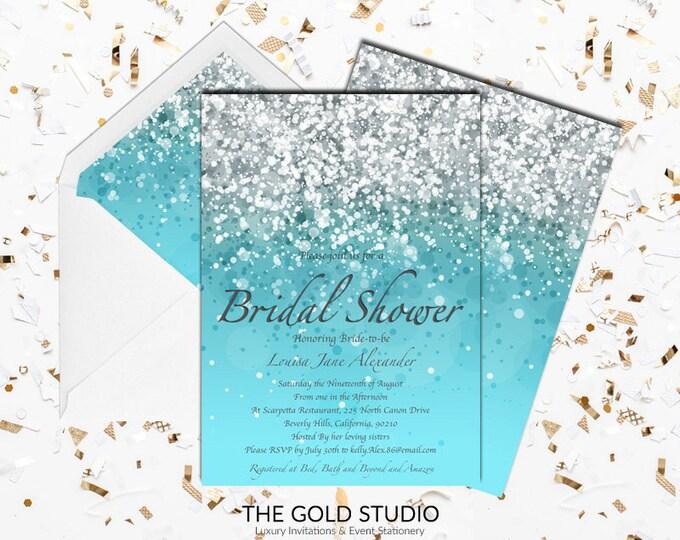 Blue Bridal Shower Invitation   Modern Elegant Turquoise Glitter Bridal Shower invite   Glamorous Blue Printed Bridal shower invitations