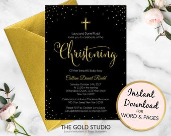 Christening invitation | Black and Gold glitter christening party invite | boy or girl religious invitation | Editable printable template