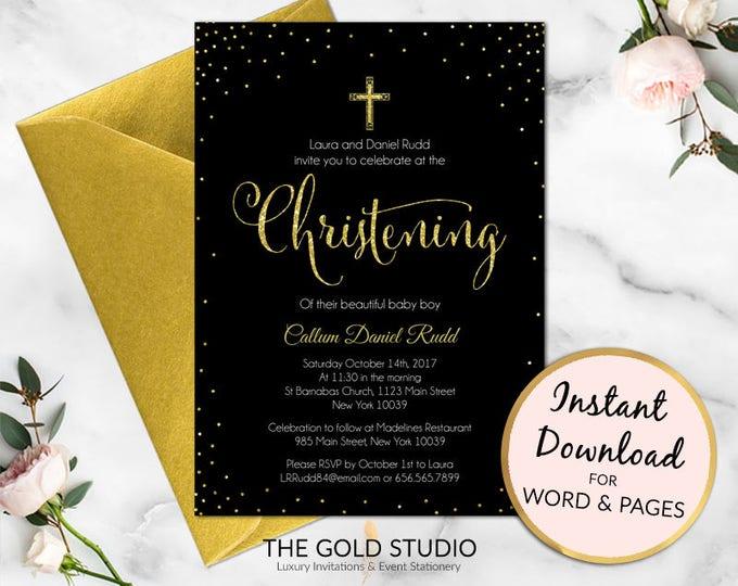 Christening invitation | Black and Gold glitter christening party invite | boy or girl religious invitation | Editable printable template