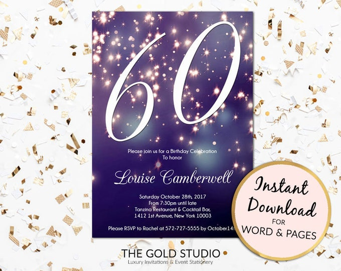 60th birthday invitation instant download blue purple sparkle firework bokeh glamorous modern birthday party invite Mac or PC, Word or Pages