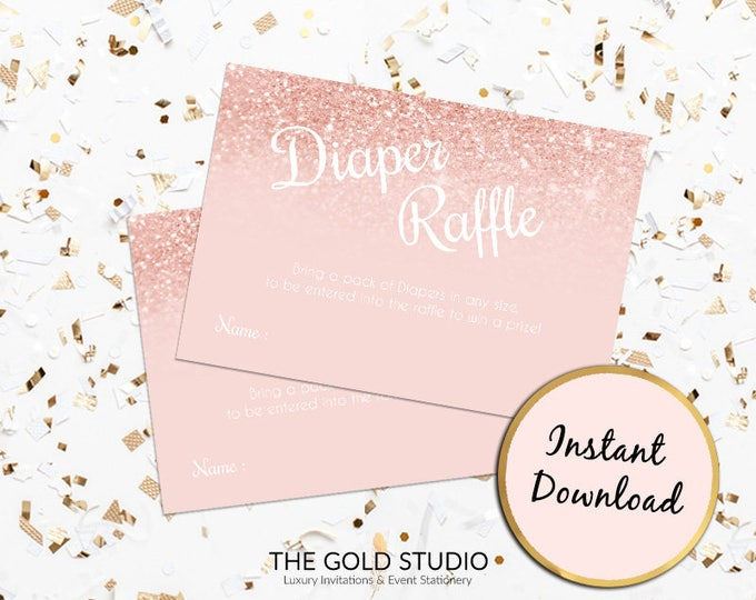 Rose Gold Diaper Raffle Ticket   Baby shower insert card Instant Download   Printable Baby Shower Games   Print at home Baby shower Raffle