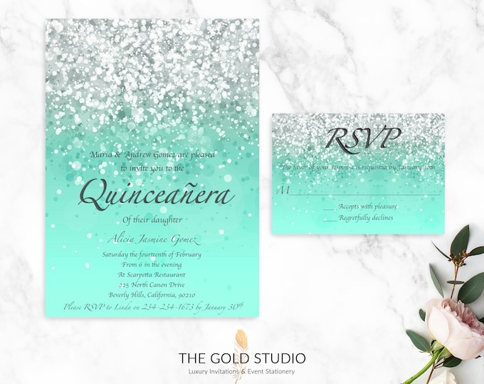 Quinceanera Invitation Suite   Mint Green Printed Invitation & RSVP Set   Glamorous Mis quince Birthday Invitation   15th Birthday Party