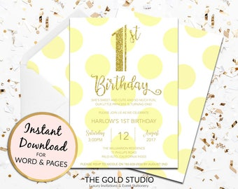 1st birthday invitation instant download yellow gold glitter template children's party editable digital file Mac or PC Word or Pages