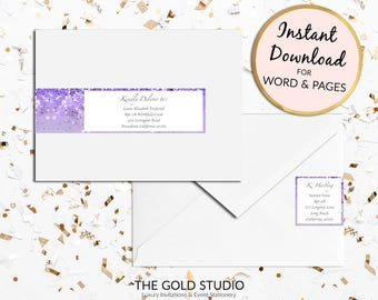 Printable Purple glitter Return address labels Envelope wrap address sticker wrap around label for Mac or PC, Word or Pages Instant Download