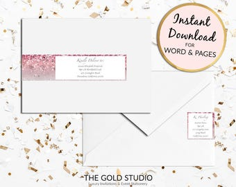 Printable Pink glitter Return address labels Envelope wrap address sticker wrap around label for Mac or PC, Word or Pages Instant Download