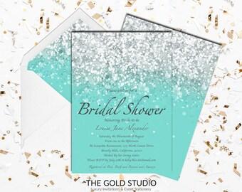 teal bridal shower invitation luxury modern elegant turquoise glitter bridal shower glamorous teal printed bridal shower invitations