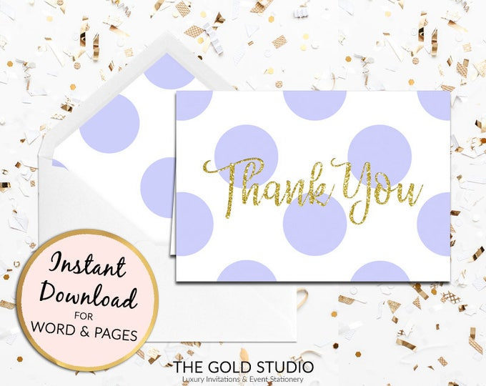 Lilac Purple Thank you card instant download children's birthday party gold glitter thanks note card Mac or PC Word & Pages Instant Download