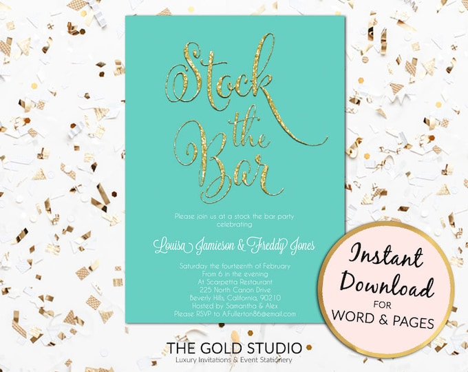 Instant Download Stock the bar invitation, teal green & gold glitter couples shower, engagement template printable PC or Mac, Word or Pages