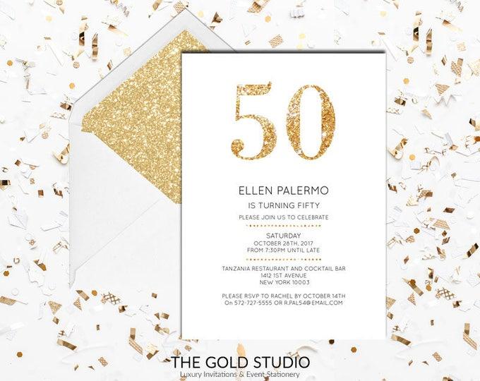 50th Birthday Invitation | White & Gold Glitter modern 50 birthday invite | Printed Invitations 50th Birthday Milestone birthday invitation