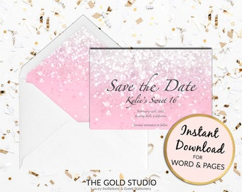 Printable Blush Pink Sweet 16 Save the date card, sweet sixteen save the date, Print at home for Mac or PC Word or Pages Instant Download