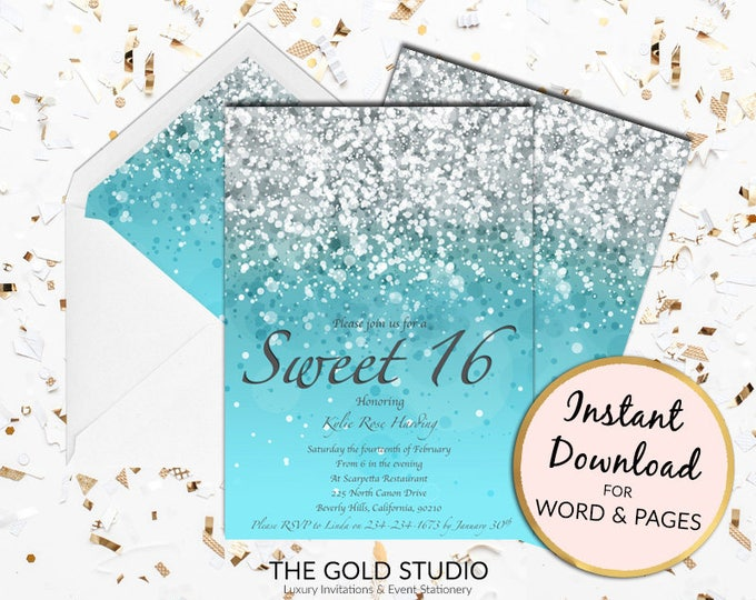 Printable Blue Sweet 16 invitation Sweet sixteen Print at home Turquoise Glitter invite 16 Birthday Mac or PC Word or Pages Instant Download