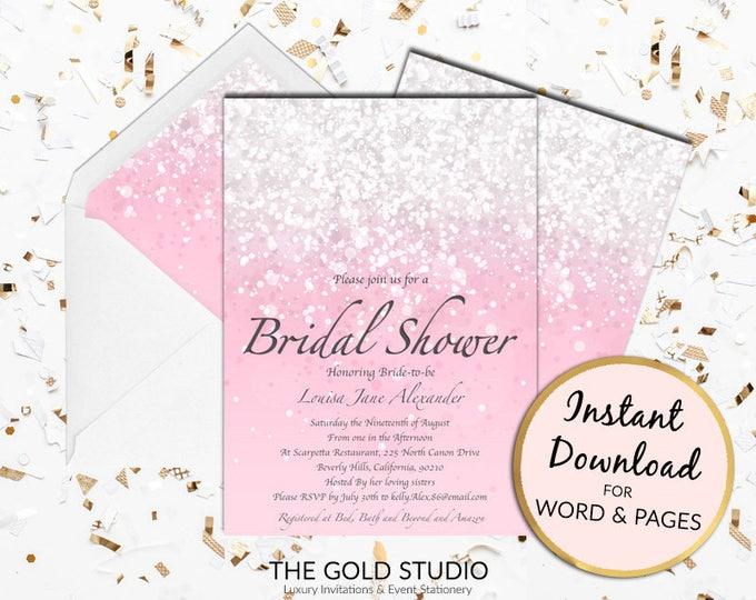 Printable Blush Pink Bridal Shower invitation Print at home bride to be glamorous Glitter invite  Mac or PC Word or Pages Instant Download