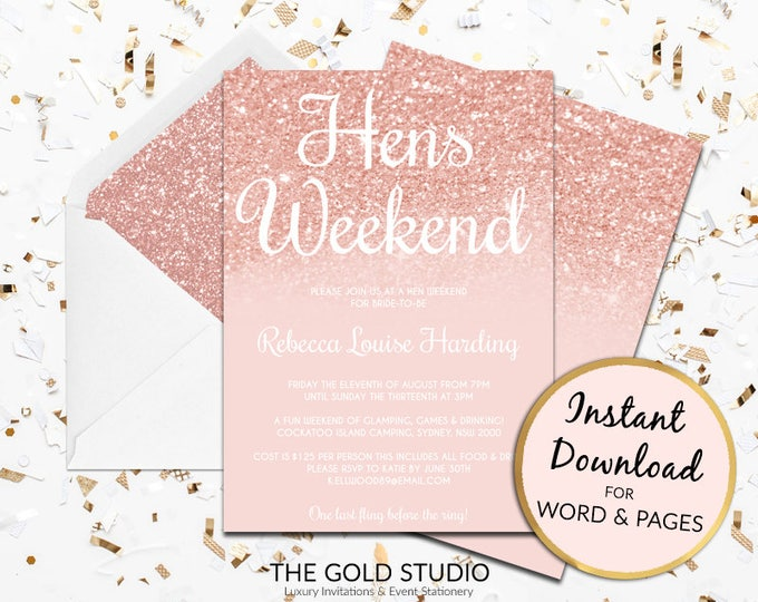 Rose Gold hens party invitation hens weekend Instant Download modern editable template pink peach glitter invite Mac or PC Word or Pages
