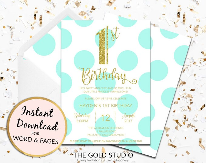 1st birthday invitation instant download turquoise blue gold glitter template children's party editable digital file Mac or PC Word or Pages