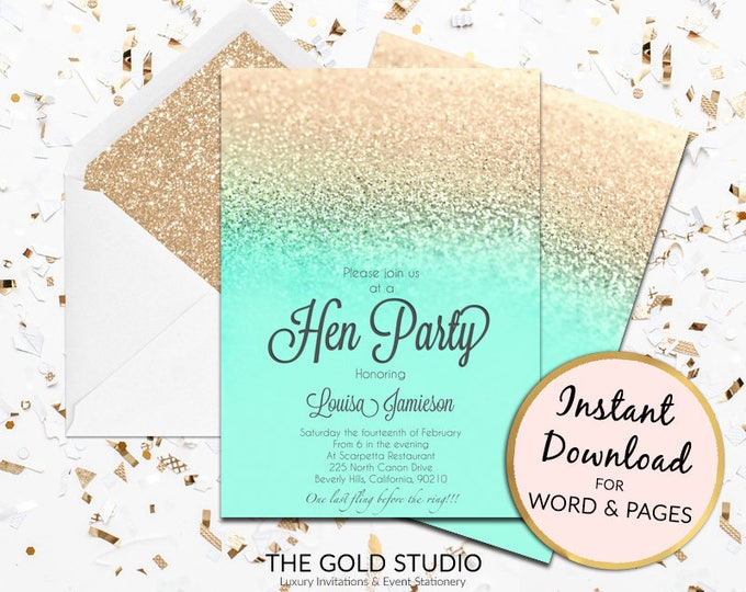 Printable mint turquoise and gold glitter Hen Party invitation hen party invite hens night Mac or PC Word or Pages Instant Download