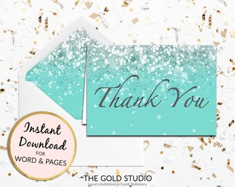 Turquoise blue Thank you card Instant download | Teal glitter with thanks note card | Sweet 16, Bridal shower, Birthday thank you card