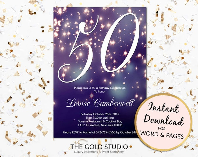 50th birthday invitation instant download blue purple sparkle firework bokeh glamorous modern birthday party invite Mac or PC, Word or Pages